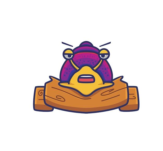 Netter schneckenstand auf holzstruktur. tier flach cartoon-stil illustration symbol premium-vektor-logo-maskottchen geeignet für web-design-banner-charakter