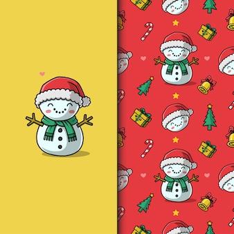 Netter schneemann an weihnachten. nahtloses muster.