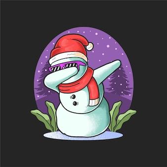 Netter schneemann, der den weihnachtstag tupft