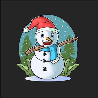 Netter schneemann, der tupft, feiert weihnachten