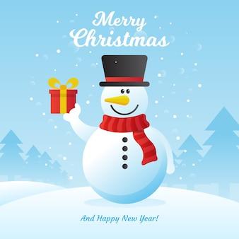 Netter schneemann für weihnachtshintergrund