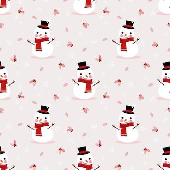Netter schneemann im nahtlosen muster der weihnachtsjahreszeit