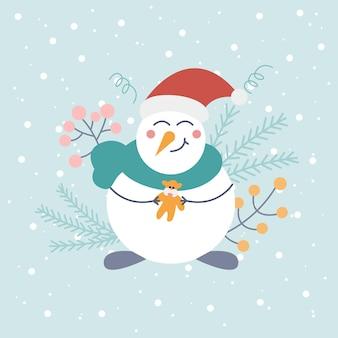 Netter schneemann in weihnachtsmütze mit spielzeug auf hellem hintergrund mit schneeflocken und dekorativen elementen
