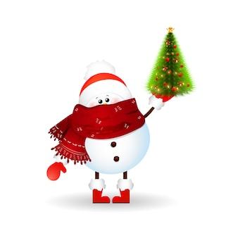 Netter schneemann mit schal, rotem weihnachtsmannhut und halten eines weihnachtsbaumes lokalisiert auf weißem hintergrund. vektorillustration