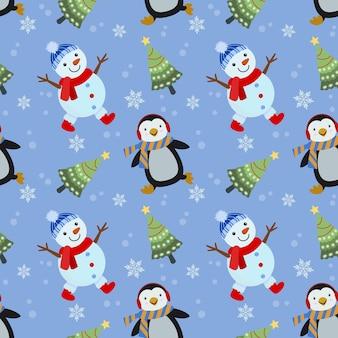 Netter schneemann, pinguin mit nahtlosem muster des weihnachtsbaums.