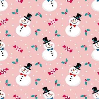 Netter schneemann, weihnachtsbeere und süßes nahtloses muster.