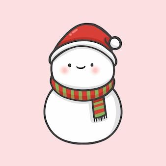Netter schneemann weihnachtshand gezeichneter karikaturartvektor
