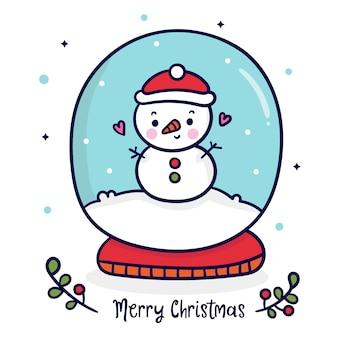 Netter schneemannvektor in der weihnachtsschneekugel