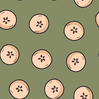 Netter schnitt in halbe äpfel natürliche gezeichnete nahtlose mustertapete. cartoon-stil dekoration hintergrund