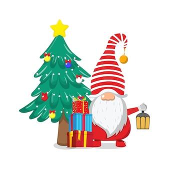Netter schöner weihnachtsmann, der fröhliche charismas mit chiasmas-geschenkboxen und chiasmas-baum und -lampe isoliert feiert