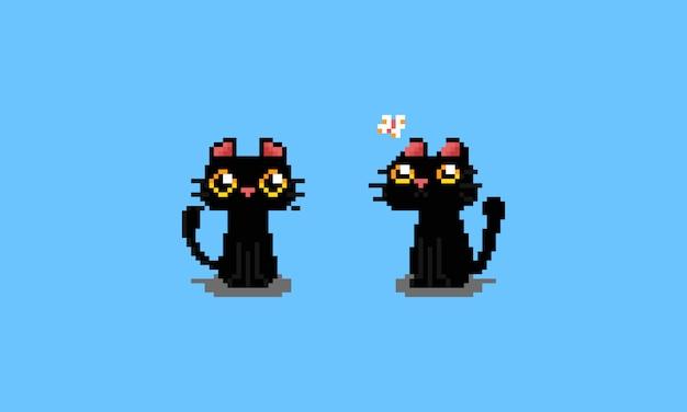 Netter schwarzer katzencharakter der pixelkunstkarikatur.