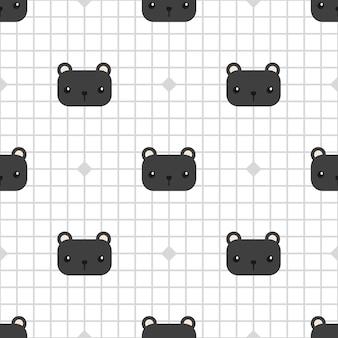Netter schwarzer panther auf nahtlosem muster der gitterkarikatur