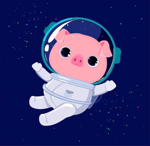 Netter schwein-astronautencharakter