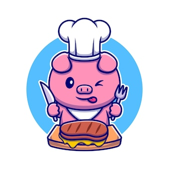 Netter schwein-chef, der beefsteak-cartoon-figur isst. tierfutter isoliert.