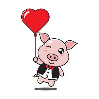 Netter schweinejunge, der liebesballon hält