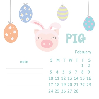 Netter schweinekalender für 2019