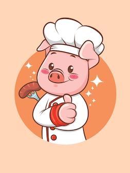 Netter schweinekoch, der eine grillwurst hält. zeichentrickfigur und maskottchenillustration.
