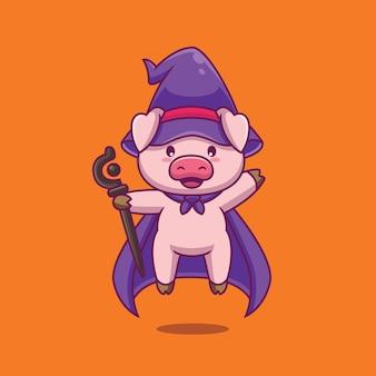 Netter schweinezauberer mit zauberstabkarikaturillustration