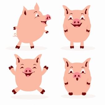 Netter schweinzeichensatz - entzückende flache artschwein-illustrationssammlung