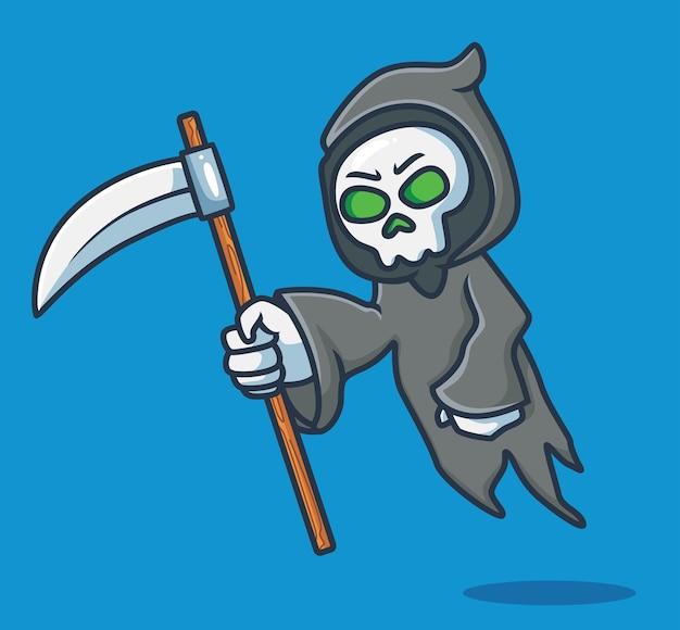Netter sensenmann. cartoon-halloween-event-konzept isolierte abbildung. flacher stil geeignet für sticker icon design premium logo vektor. maskottchen-charakter