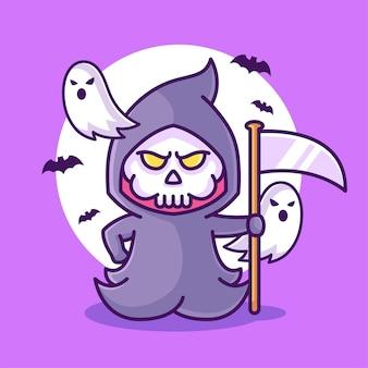 Netter sensenmann, der sense halloween-logo-vektor-symbol-illustration im flachen stil hält