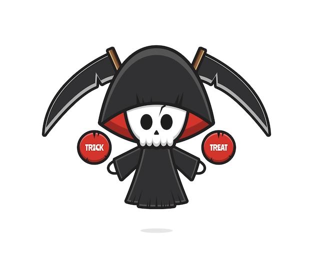 Netter sensenmann halloween gibt süßes oder saures cartoon-icon-illustration. entwerfen sie isolierten flachen cartoon-stil