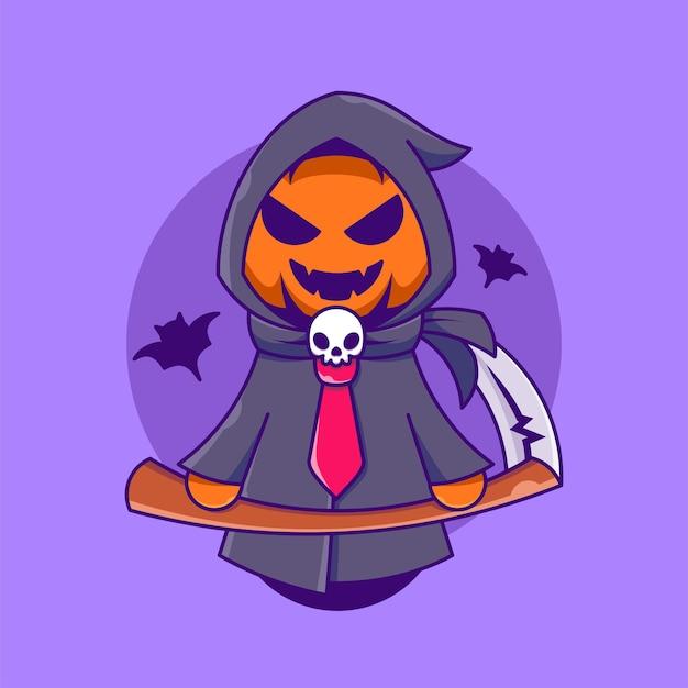 Netter sensenmann-kürbis, der sensekarikaturikonenillustration halloween-feiertag isoliert hält