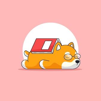 Netter shiba hund, der leseglas müde trägt und nach dem lesen des dicken buchumrissillustrationsmaskottchens schläft