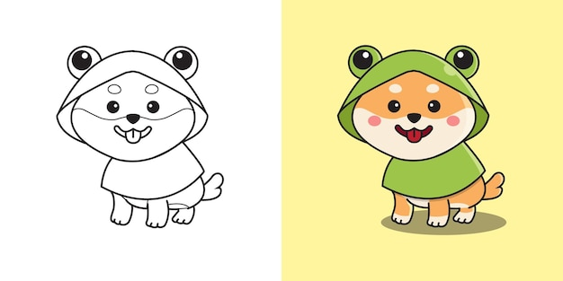 Netter shiba inu, der froschkostümregenmantel trägt. kinder malvorlagen. flache art cartoon design.