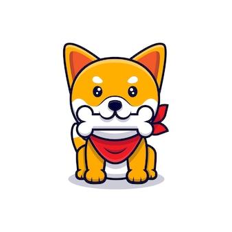 Netter shiba inu hund bringen knochen cartoon icon illustration