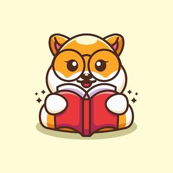 Netter shiba inu hund, der buchkarikatur liest