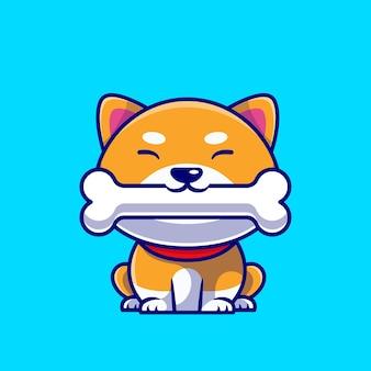 Netter shiba inu hund, der knochen cartoon icon illustration isst.