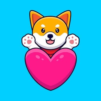 Netter shiba inu hund, der pfoten hinter einer großen herz-karikatur-symbol-illustration winkt