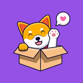 Netter shiba inu hund, der pfoten innerhalb einer box cartoon icon illustration winkt