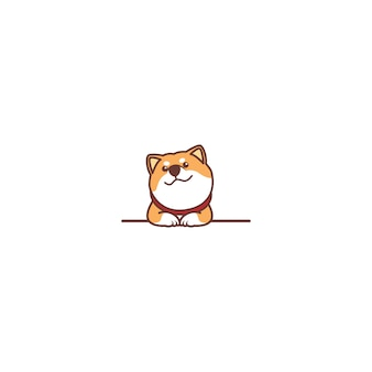 Netter shiba inu hund, der über wandkarikatur lächelt