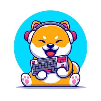 Netter shiba inu-spielhund mit kopfhörer und hält tastatur-cartoon-illustration.