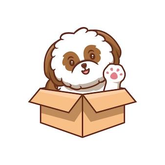Netter shih-tzu welpe, der pfoten innerhalb der box-cartoon-symbol-illustration winkt