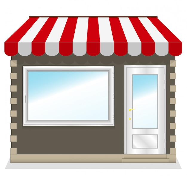 Netter shop mit roten markisen