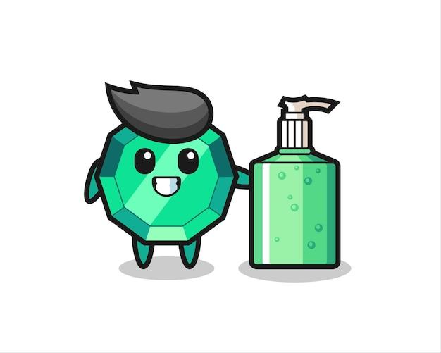 Netter smaragd-edelstein-cartoon mit händedesinfektionsmittel, süßes design für t-shirt, aufkleber, logo-element