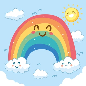 Netter smiley-regenbogen