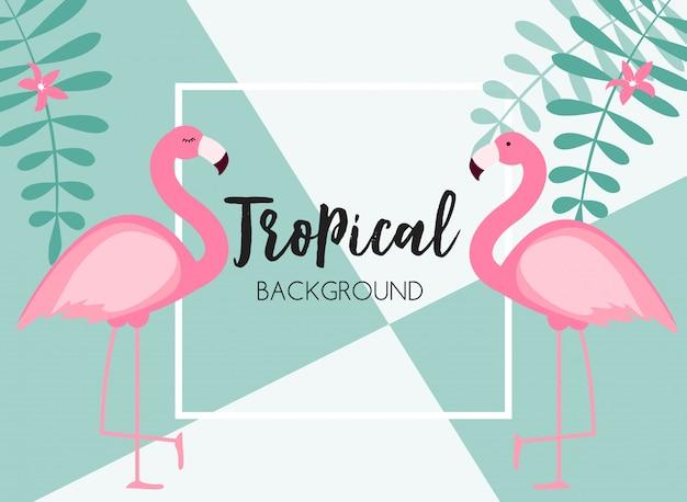 Netter sommer-abstrakter rahmenhintergrund mit rosa flamingo-illustration