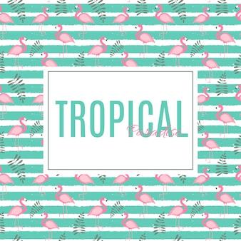 Netter sommer-zusammenfassungs-rahmen-hintergrund mit rosa flamingo-vektor-illustration