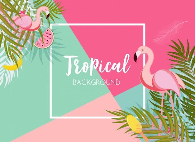 Netter sommer-zusammenfassungs-rahmen-hintergrund mit rosa flamingo