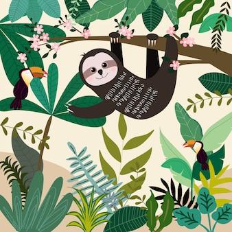 Netter sommerwald des sloths im frühjahr