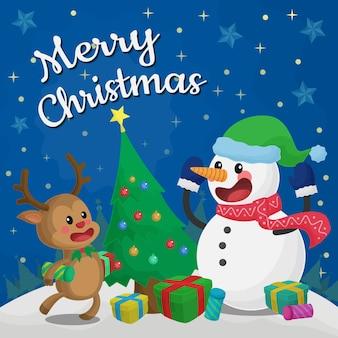 Netter spaß frohe weihnachtsgrüße hintergrund