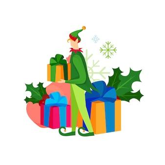 Netter spielerischer weihnachtself mit geschenkenhaufen