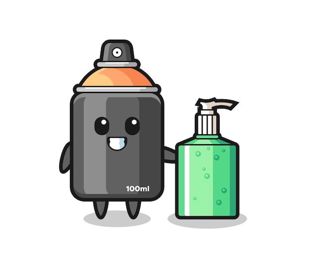 Netter sprühfarben-cartoon mit händedesinfektionsmittel, süßes design für t-shirt, aufkleber, logo-element