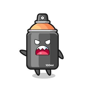 Netter sprühlack-cartoon in einer sehr wütenden pose, süßes stildesign für t-shirt, aufkleber, logo-element