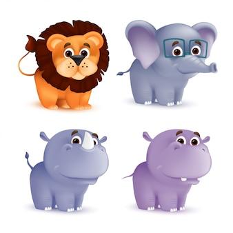 Netter stehender und lächelnder zeichentrickfilmbabycharakter gesetzt - nashorn, löwe, elefant, nilpferd. illustration eines afrikanischen wildtiermaskottchens neugeborene tiere isoliert
