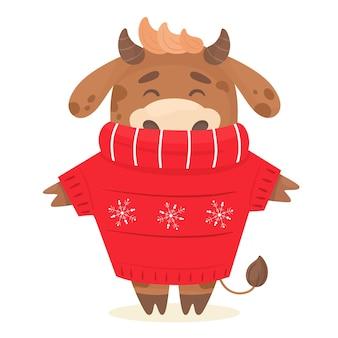 Netter stier in einem pullover. jahr des stiers. illustration im flachen karikaturstil.